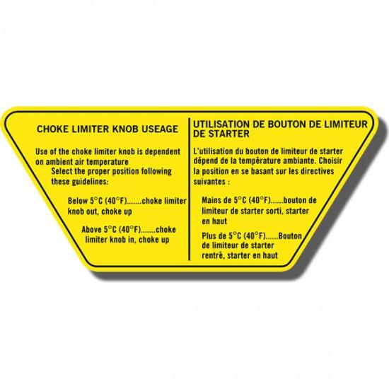 Choke Info Decal Suzuki ALT125 83