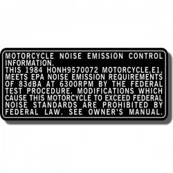 Emission Decal ATC70 | ATC110 | ATC125M |ATC200M/S | ATC250R | ATC250ES | ATC250SX | ATC350X