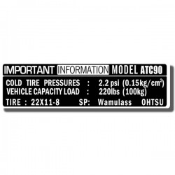 Important Info Decal ATC90 75-78