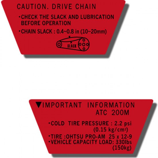 Rear Fender Important Info Decals ATC200M 84-85