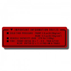 Important Info Decal TRX125 85-86