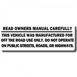 Read Owners Manual Decal ATC70 | ATC90 | ATC110 | ATC185/S | ATC200 | ATC250R