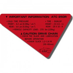 Rear Fender Important Info Decal ATC250R '85