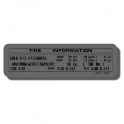Tire Info Decal Z50R 92-93