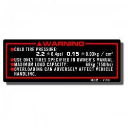 Tire Info Decal TRX70 '86-87