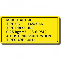 Tire Info Decal Suzuki ALT50 82