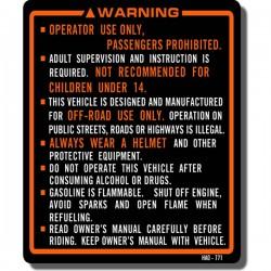 Warning Decal ATC250ES 87