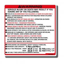 Warning Decal ATC250ES 88