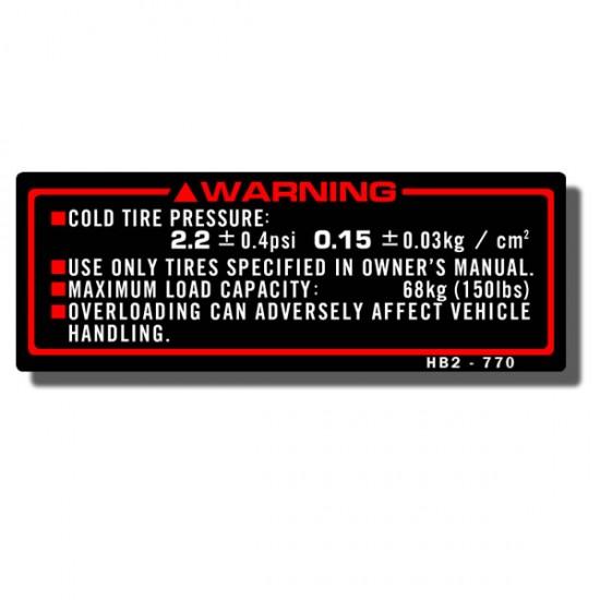 Warning Decal TRX70 '86-87