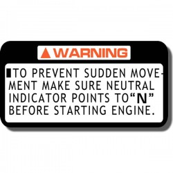 Prevent Sudden Movement  Decal ATC70 | ATC110| ATC125M | ATC185/S | ATC200 | ATC200ES | ATC200M