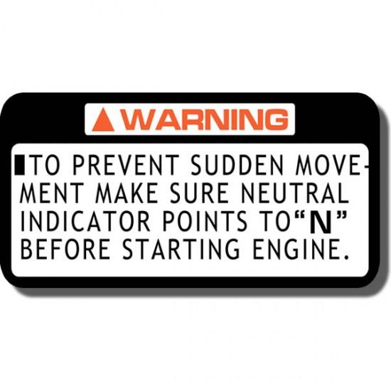 Prevent Sudden Movement  Decal ATC70 | ATC110| ATC125M | ATC185/S | ATC200 | ATC200ES | ATC200M