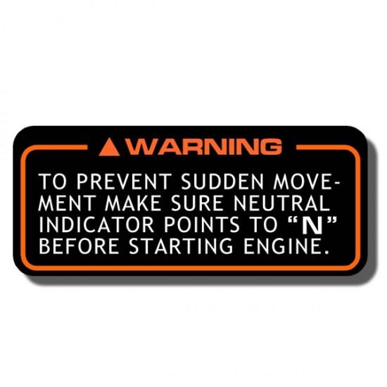Prevent Sudden Movement  Decal ATC70 | ATC110| ATC125M |ATC200M | ATC200S