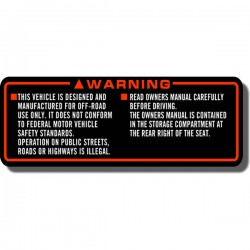 Warning Off Road Decal FL350 Odyssey 85